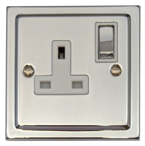G&H TC209 Trimline Plate Polished Chrome 1 Gang Single 13A Switched Plug Socket